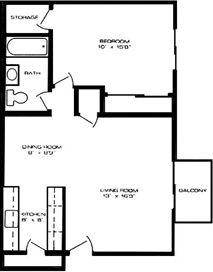 1 Bedroom Floorplan at Sherwood Lake Apartments